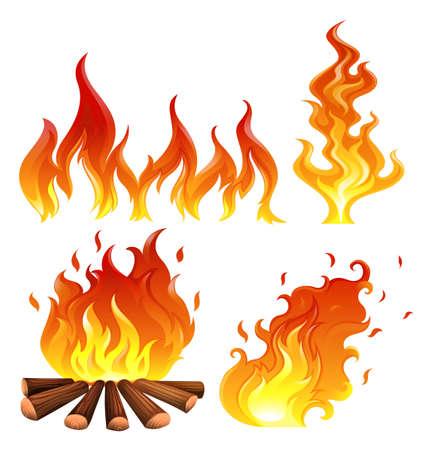 Illustratie van de set van vlammen op een witte achtergrond Stock Illustratie