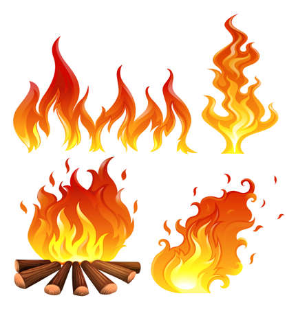 wood burning: Illustration of the set of flames on a white background Illustration