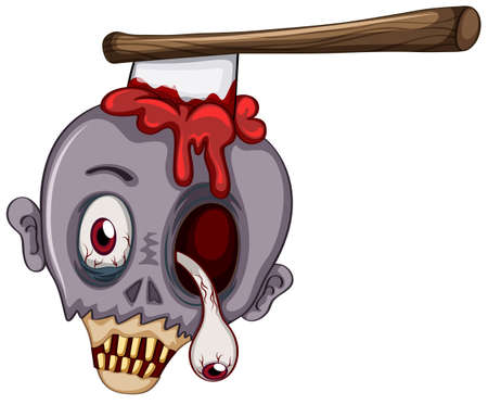 Illustration of a skull of a zombie on a white background Vector