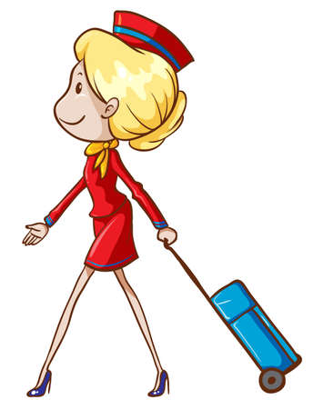 hostess: Illustration of an air hostess with a trolley on a white background