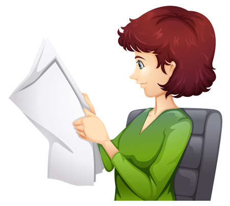 tabloid: Illustration of a woman reading a tabloid on a white background