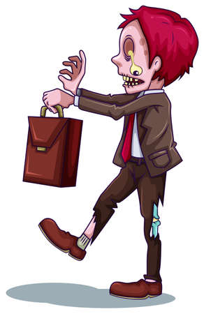 dangerous work: Illustration of a working zombie on a white background