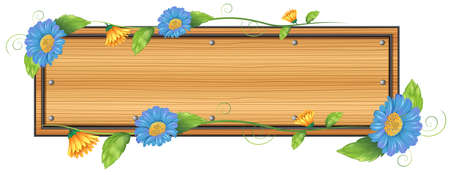 signboard: Illustration of an empty signboard with flowers on a white background