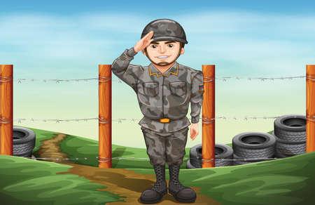 police officer: Illustration of a military officer Illustration