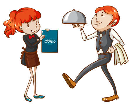 Illustration of a waiter and a waitress on a white background Vector