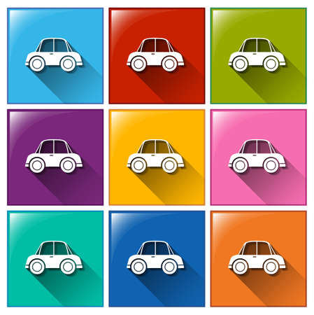 Illustration of the car icons on a white background Vector