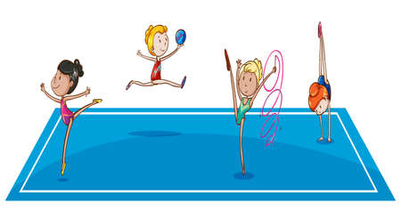 rhythmic gymnastic: Illustration of the gymnasts at the quadrangle on a white background Illustration
