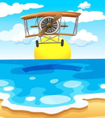 jetplane: Illustration of a plane flying above the sea Illustration