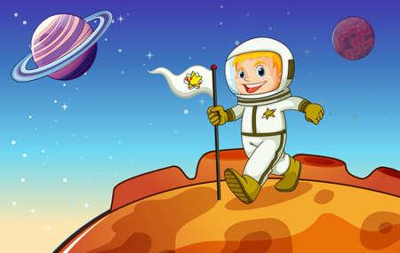 outerspace: Ilustraci�n de un ni�o en el espacio exterior