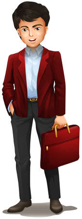 attache: Illustration of a businessman with a red attache case on a white background