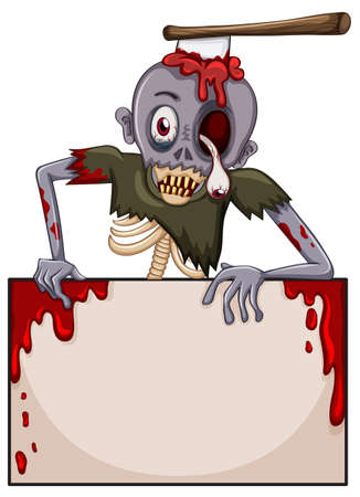 edges: Illustration of a zombie with an empty signboard on a white background