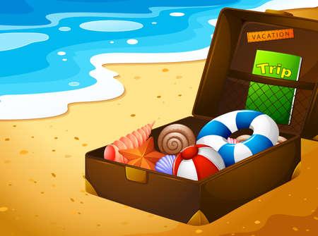 beach bag: Illustration of a summer vacation trip