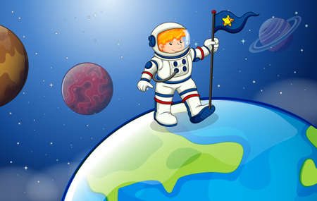 milkyway: Illustration of a young astronaut in the outerspace Illustration