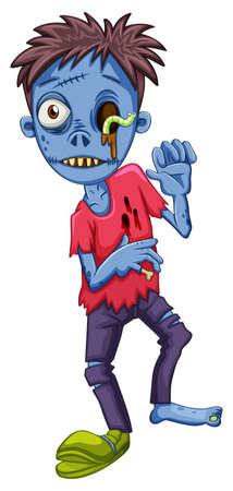 carribean: Ilustraci�n de un zombie de miedo sobre un fondo blanco