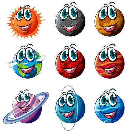 Illustration of the animated planets on a white background Vector