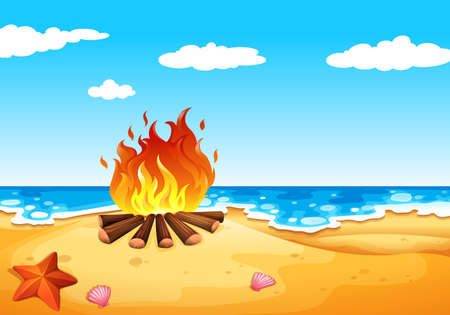 wavelengths: Illustration of a campfire at the beach Illustration