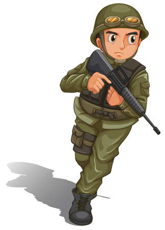 Illustration of a brave soldier fighting on a white background Illustration