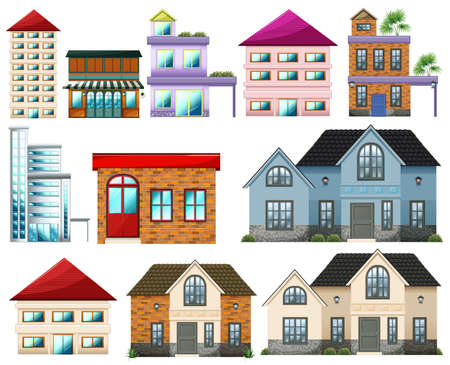lllustration: lllustration of the different buildings on a white background