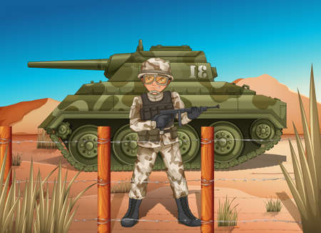 frontline: Illustration of a soldier in front of the military tank Illustration