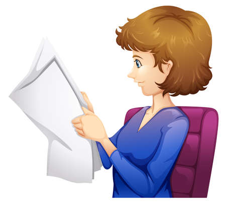 lllustration: lllustration of a lady reading a newspaper on a white background