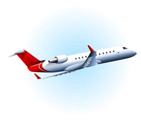 cruising: Illustrazione di un volo aereo su uno sfondo bianco