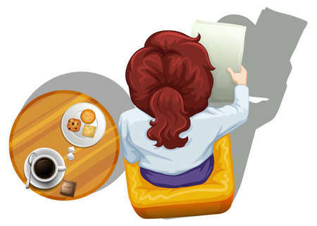 lllustration: lllustration of a topview of a woman reading beside the table on a white background