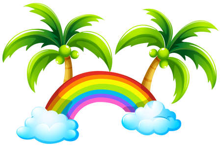 lllustration of a rainbow and the coconut trees on a white background