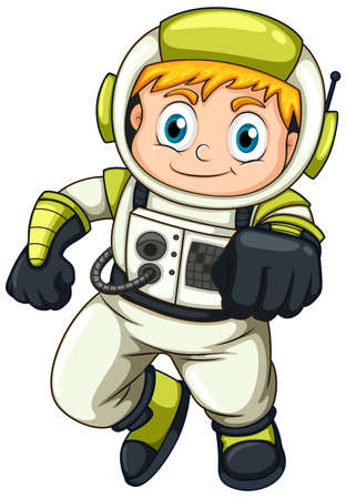 lllustration of a young astronaut on a white background Vector