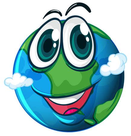lllustration: lllustration of a smiling planet Earth on a white background