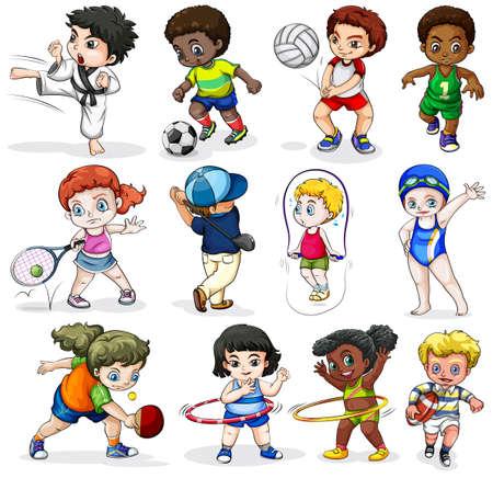 lllustration van de kinderen deelnemen aan verschillende sportieve activiteiten op een witte achtergrond