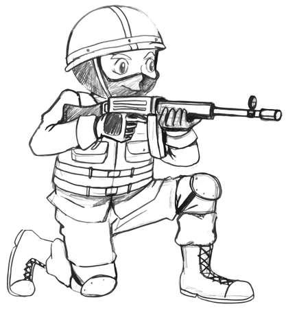 fallschirmj�ger: Illustration einer Skizze eines Soldaten mit einem Gewehr auf einem wei�en Hintergrund