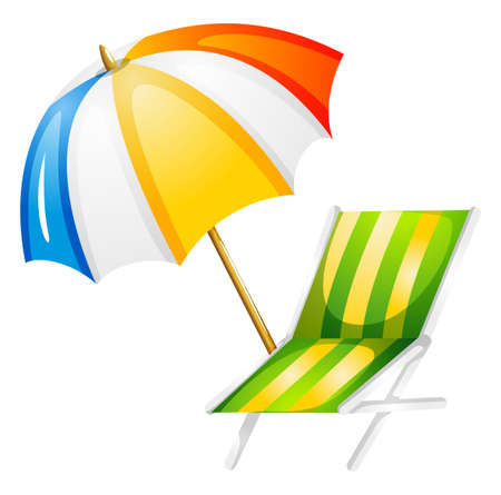 Illustration of a beach bed and umbrella on a white background Vector