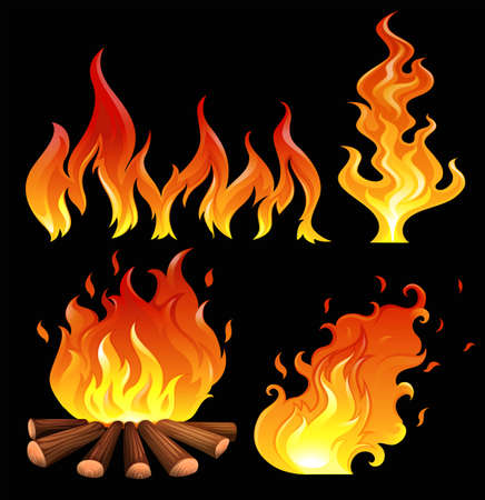 gaseous: Illustration of a big fire on a black background