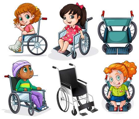 pacientes: lllustration de los pacientes discapacitados en silla de ruedas sobre un fondo blanco