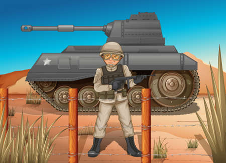 Illustration of a soldier in front of the tank