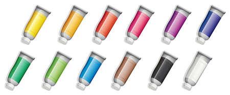 lllustration: lllustration of the set of medicine tubes on a white background