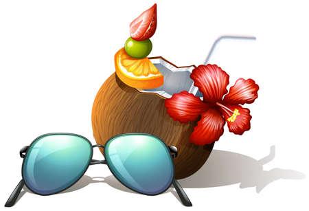 sip: lllustration de una bebida refrescante y una gafas de sol para una excursi�n de playa sobre un fondo blanco