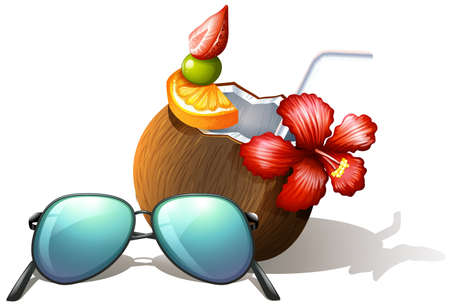 anthropological: lllustration of a refreshing drink and a sunglasses for a beach outing on a white background Illustration