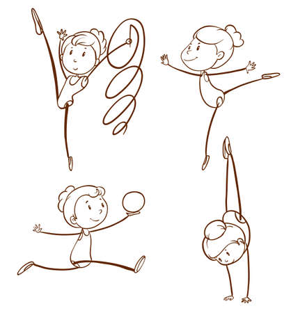 flexible woman: Illustration of the sketches of a girl doing gymnastics on a white background Illustration