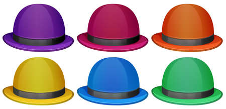 lllustration of the colourful hats on a white background Vector