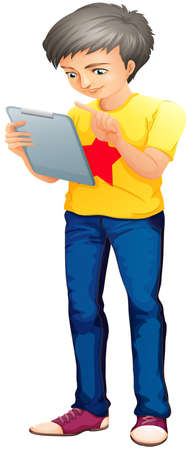 handheld device: lllustration of a boy using a touch screen gadget on a white background