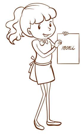 lllustration: lllustration of a waitress holding the menu on a white background Illustration