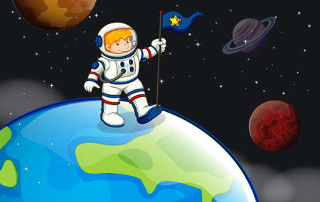 outerspace: Illustration of a man in the outerspace Illustration