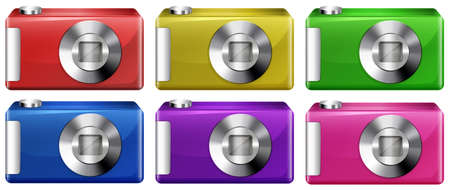lllustration of the digital cameras on a white background