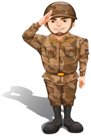 Illustration of a soldier demonstrating a hand salute on a white background