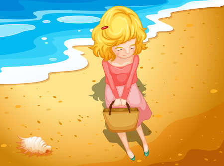 wavelengths: Illustration of a young lady at the beach