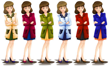 lllustration: lllustration of a female in different shades of a blazer on a white background Illustration