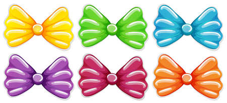 hair bow: lllustration of the colourful bows on a white background Illustration