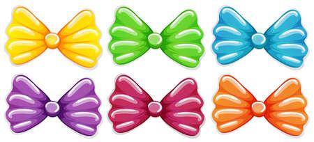 lllustration: lllustration of the colourful bows on a white background Illustration