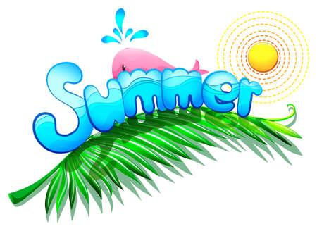 margen: Ilustración de una plantilla de verano en un fondo blanco